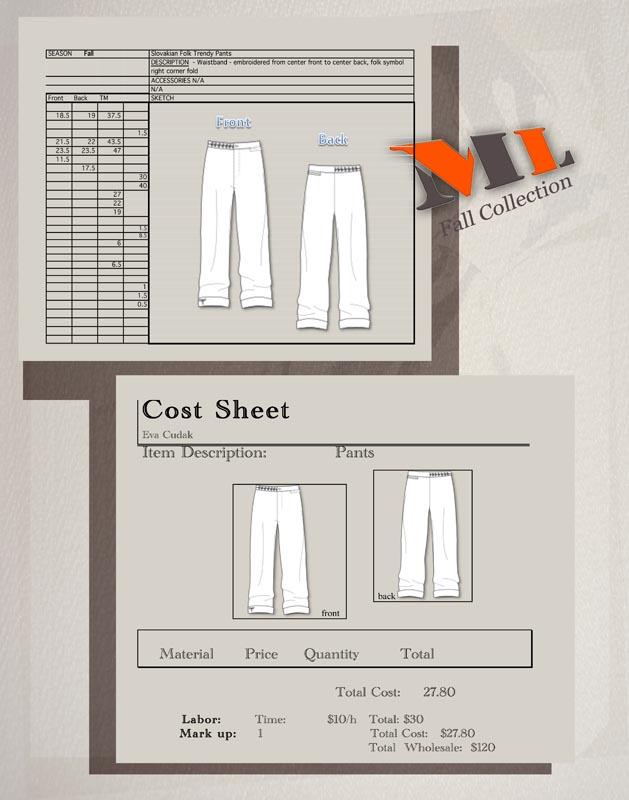 Men S Wear Cost Sheet